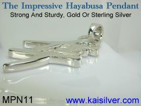 silver mens pendant, hayabusa pendant