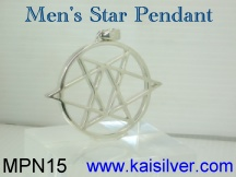 mens star pendant, 925 silver or 14k 18k gold star pendants