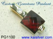 custom jewelry, fancy cut garnet pendant