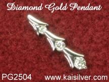 three diamond pendant, custom made white gold diamond pendant