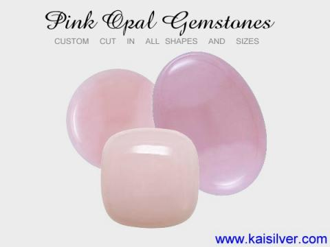 pink gemstone rings. natural pink opal gem stone.