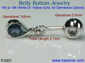 belly button jewelry custom made with sapphire
