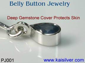 sapphire belly button jewelry