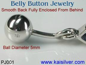 custom made gem stone belly button jewelry