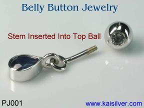 gemstone or diamond belly button jewelry custom