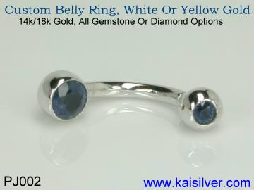 Belly ring with birthstone or belly gold ring with gemstones of your choice
