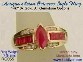 Asian princess ring, custom made gold or sterling silver