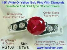 custom made jewelry, diamond and ruby engagement white gold ring