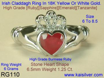 White Gold Ruby Claddagh Ring