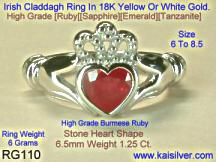 ruby claddagh white gold ring