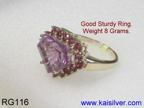 Gem Stone Gold Ring Side View.