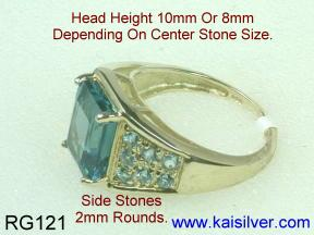 Custom Made Topaz Ring Side View.