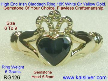 Claddagh Ring With Sapphire Gemstone