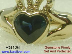 Claddagh Ring, Full Gold Ring Protects Gemstone