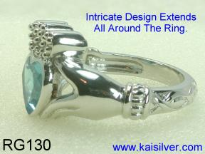 Silver Cladagh Rings With Gemstone