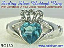 Claddagh blue topaz ring, silver or gold