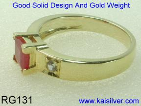 ruby gold ring, yellow or white gold