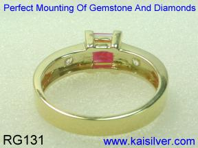 custom ruby gold ring with diamond