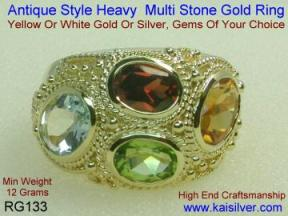 Rings with many gemstones
