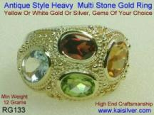 gemstone rings with three gem stones