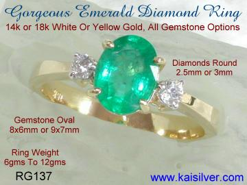 Emerald Ring White Gold And Yellow Gold