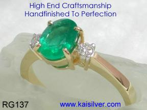 Custom Emerald Gemstone Rings With Diamonds