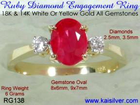 ruby engagement ring yellow or white gold