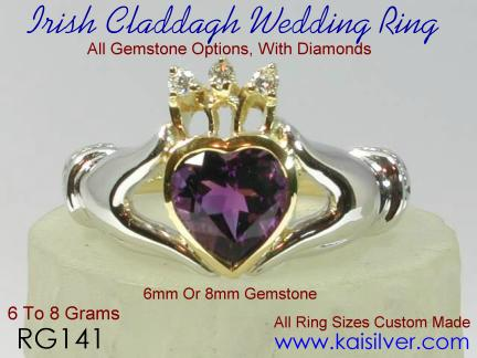 Claddagh wedding ring with diamond
