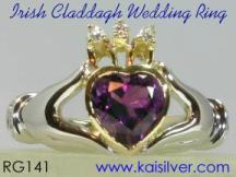 Claddagh gem stone ring