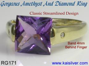 Gold rings, amethyst and diamonds