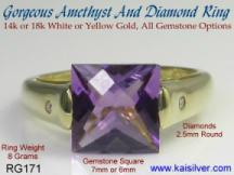 gold rings with amethyst gemstone and diamonds