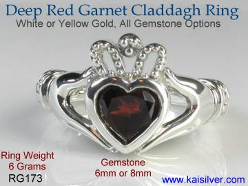 Claddagh jewelry, garnet claddagh rings