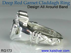 Irish Claddagh jewelry, custom claddagh garnet ring