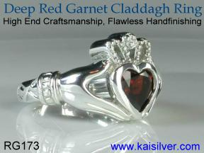 Red gemstone claddagh ring