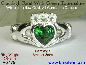 Claddagh history, gemstone claddagh ring