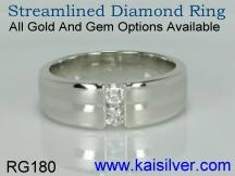 mens custom designed diamond ring 14k or 18k gold