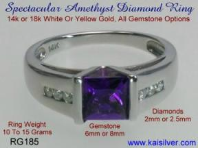 man diamond ring with amethyst gemstone