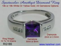 Custom fine gold jewelry, amethyst diamond rings