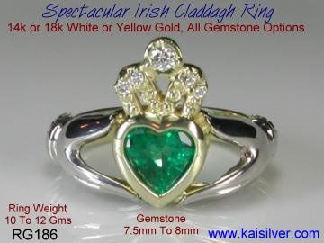 Claddagh engagement ring with gemstone