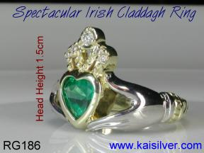 Yellow and white gold engagement claddagh rings