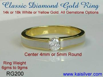 Diamond ring wedding, white or yellow gold
