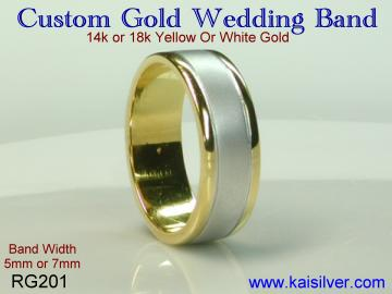 Gold wedding band, custom made yellow or white gold wedding bands