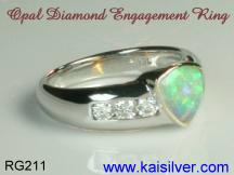 custom made jewelry with opal gem stone