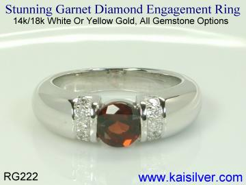 engagement diamond garnet ring