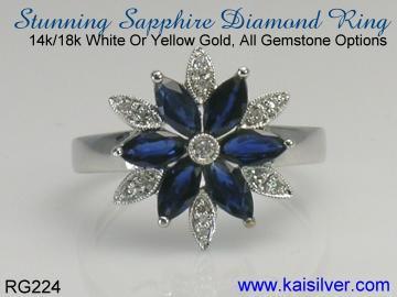 custom yellow or white gold sapphire diamond ring