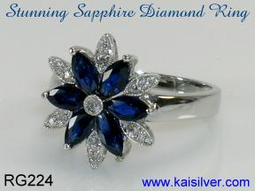 sapphire and diamond ring, white gold