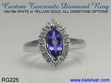 custom tanzanite ring white gold or yellow gold options