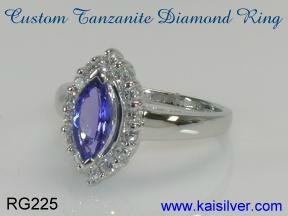 diamond and tanzanite ring, made to order