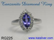 tanzanite gemstone ring white gold or yellow gold
