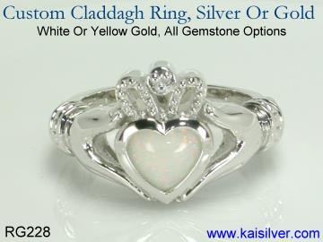 White gold claddagh ring, custom made with all gemstone options